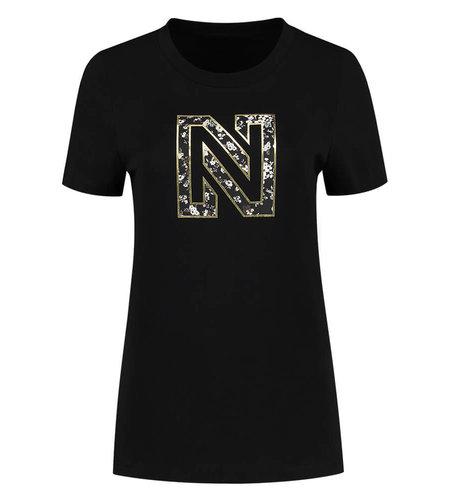 NIKKIE NIKKIE Flower Logo T Shirt Black