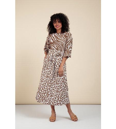 Studio Anneloes Sadie Leopard Skirt Off White Caramel