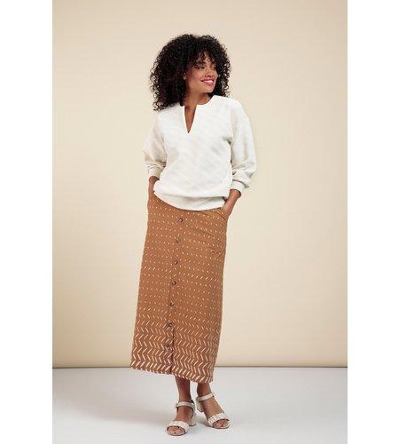 Studio Anneloes Yfke Button Border Skirt Caramel Greige
