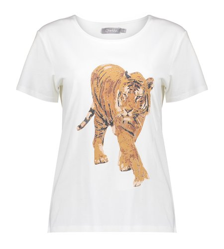 Geisha T Shirt Tiger 12602-25 Off White