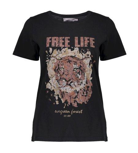 Geisha T Shirt Tiger Head Garment Dye 12537-24 Black