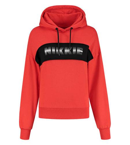 NIKKIE City Colorblock Anorak Hoodie Fiery Red