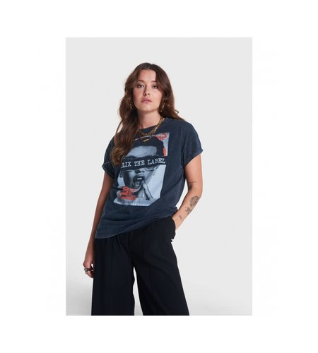 Alix The Label Knitted Boxy Photo T Shirt Black