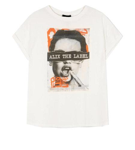 Alix The Label Knitted Boxy Photo T Shirt Soft White