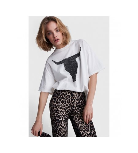 Alix The Label Knitted Boxy Bull T Shirt Soft White