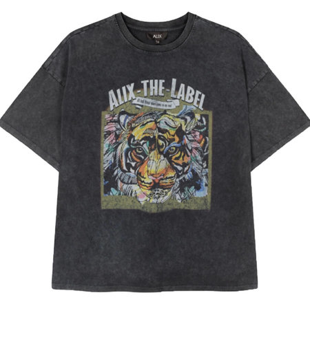 Alix The Label Knitted Oversized Tiger T Shirt Black