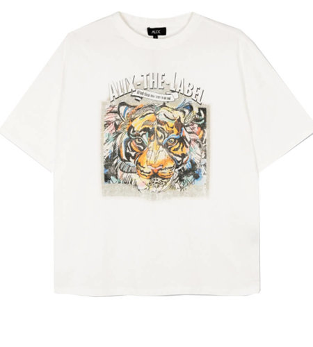 Alix The Label Knitted Oversized Tiger T Shirt Soft White