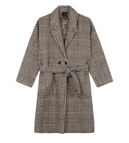 Alix The Label Woven Check Jacqaurd Coat Black White