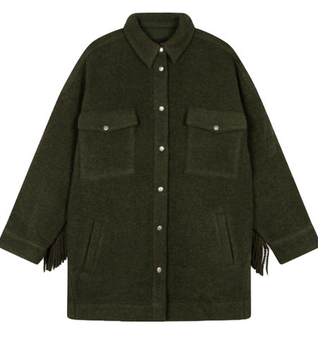 Alix The Label Woven Felted Wool Jacket Dark Army