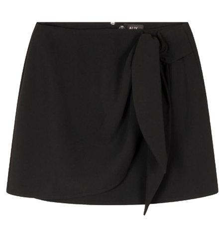 Alix The Label Woven Fake Wrap Skirt Black