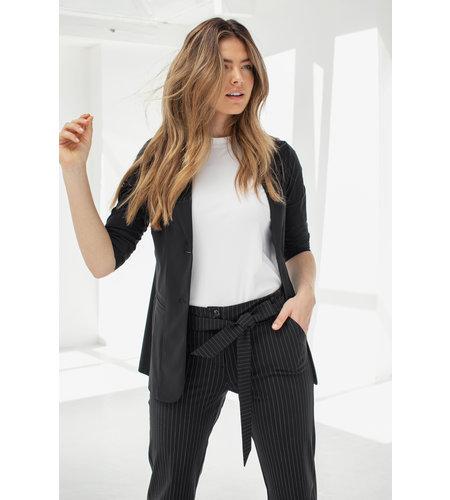 Studio Anneloes Renske Pinstripe Trousers Black Off White
