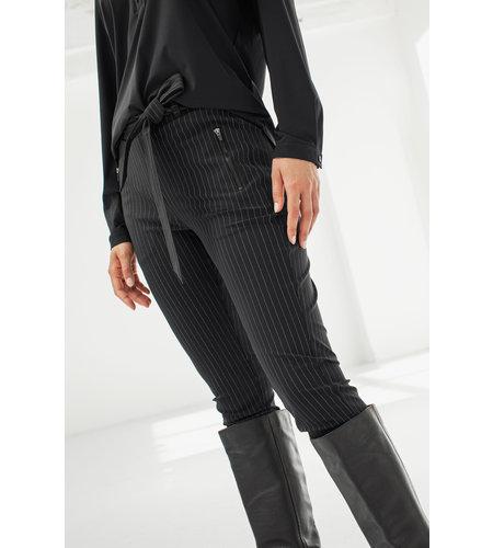 Studio Anneloes Margot Pinstripe Trousers Black Off White