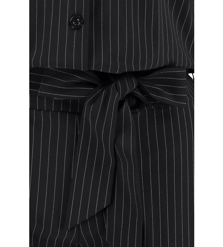 Studio Anneloes Angelique Pinstripe Jumpsuit Black Off White