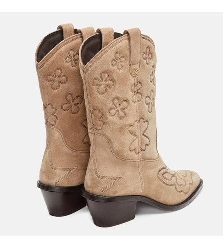 Fabienne Chapot Jolly Mid High Embroidery Boot Beige Dark Brown