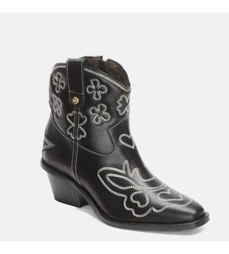 Fabienne Chapot Jolly Zipper Embroidery Boot Black Cream White