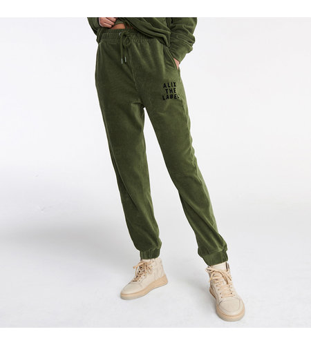 Alix The Label Knitted Rib Velvet Pants Dusty Army