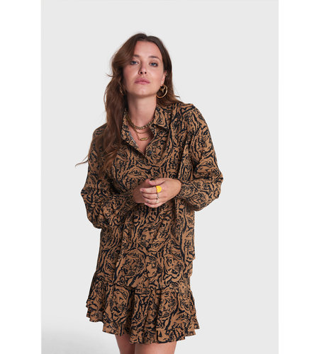 Alix The Label Woven Tiger Head Skirt Warm Camel