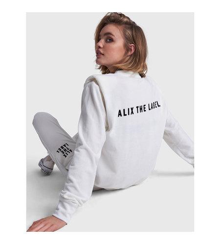 Alix The Label Knitted Rib Velvet Sweater Soft White