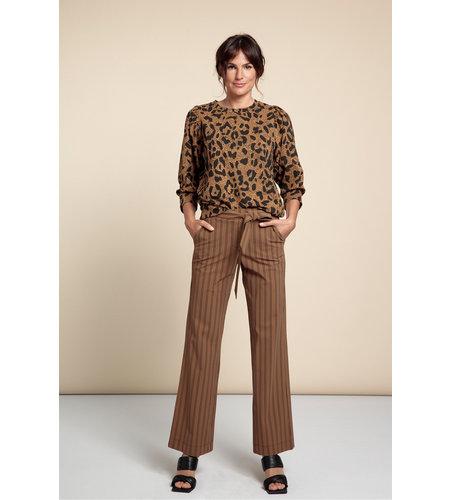 Studio Anneloes Marilyn Stripe Trousers Caramel Black