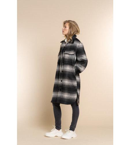 Geisha Jacket Long Blouse Check 18580-19 Black Grey