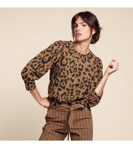 Studio Anneloes Alois All Over Print Sweater Caramel Black