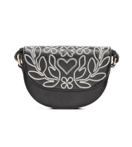 Fabienne Chapot Anais Bag Embroidered Black Cream White