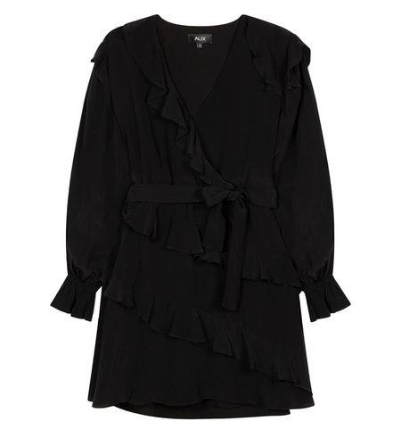 Alix The Label Woven Shiny Crepe Short Dress Black