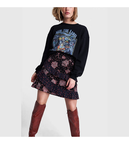 Alix The Label Knitted Organic Tiger Oversized Sweater Black
