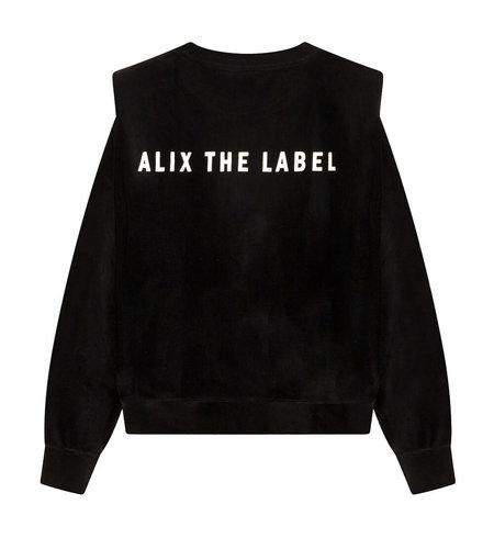 Alix The Label Knitted Rib Velvet Sweater Black