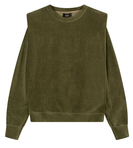 Alix The Label Knitted Rib Velvet Sweater Dusty Army