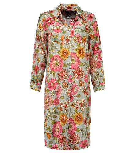 Tante Betsy Shirt Dress Long Powder Blom Grey