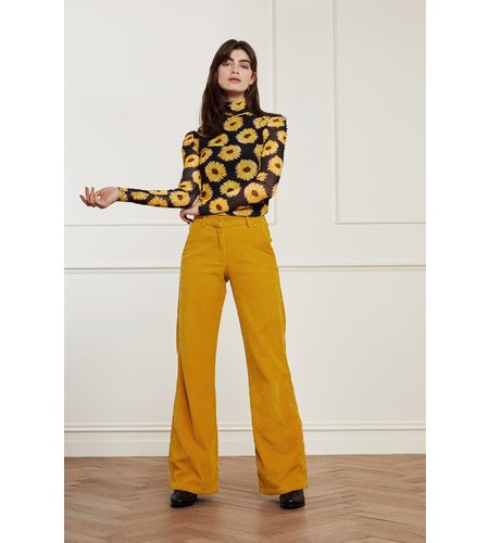 Fabienne Chapot Jane Puffed Sleeve Top Black Saffron