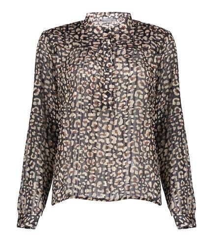 Geisha Blouse Leopard With Lurex 13537-70 Black Dark Sand Brown