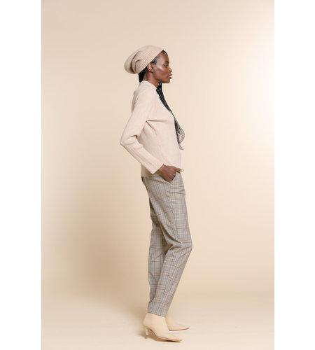Geisha Check Pants Hihg Waist 11593-24 Sand Black Tabacco Combi