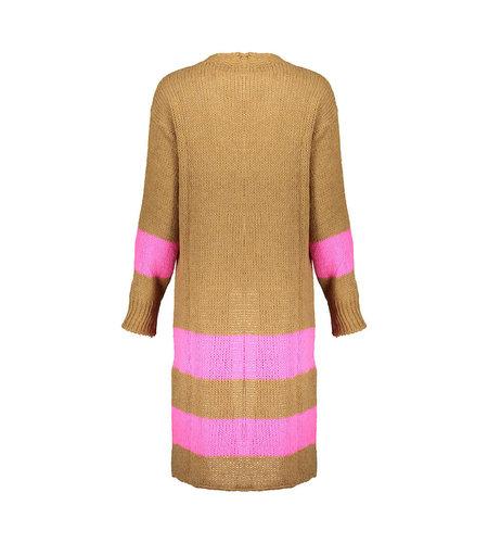 Geisha Vest Long 14862-70 Camel Fuchsia