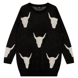 Alix The Label Knitted Bull Jacquard Pullover
