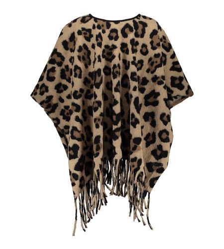 Geisha Poncho Leopard 14601-70 Dark Sand Tabacco Black