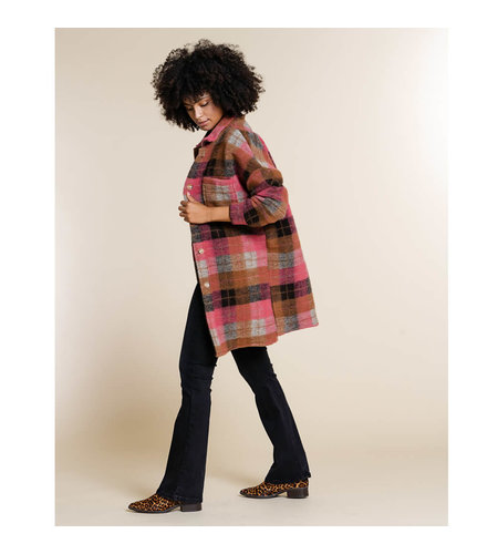 Geisha Check Coat 18831-70 Camel Salmon Grey