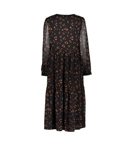 Geisha Dress Long Chiffon 17561-26 Black Cognac