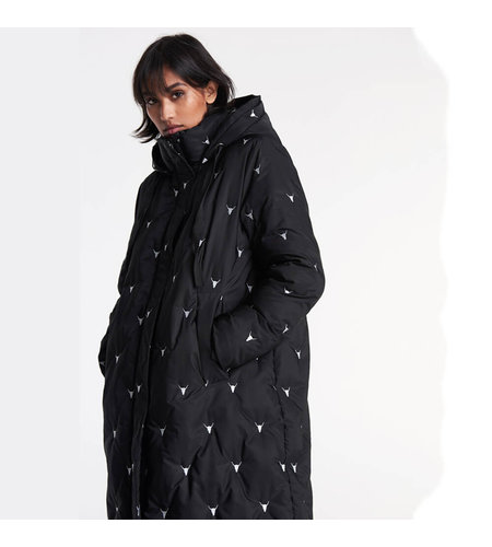 Alix The Label Woven Embroidered Bull Puffer Coat Black