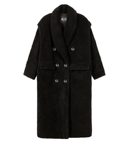 Alix The Label Ladies Woven Teddy Coat Black