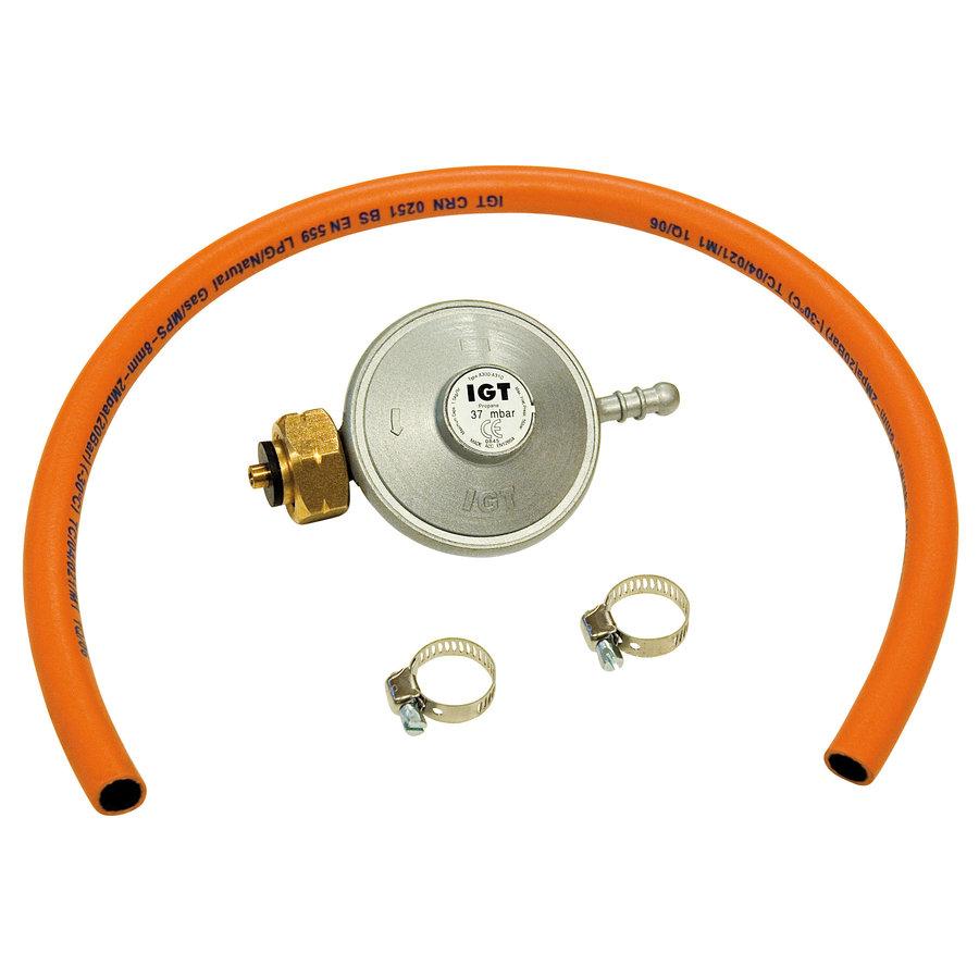 Gasregulator + slang 37Mbar-BE-1