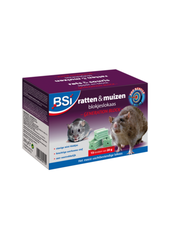 BSI Generation Block ratten en muizen blokjeslokaas 300gr (15x20gr)