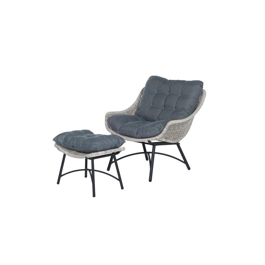 Loungestoel met voetenbankje-1