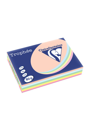 Clairefontaine Trophée papier, pastelkleuren, A4, 80g, 5x100