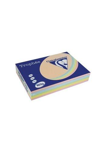 Clairefontaine Trophée papier, pastelkleuren, A4, 160g, 5x50