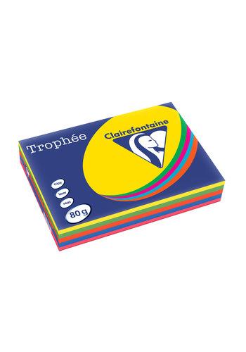 Clairefontaine Trophée papier, intense kleuren, A4, 80g, 5x100