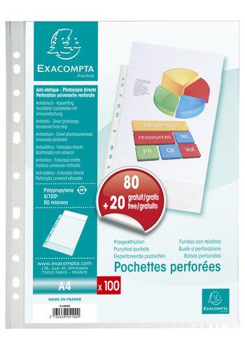 Exacompta Promopack geperforeerde insteekhoezen, A4, 80 + 20 gratis
