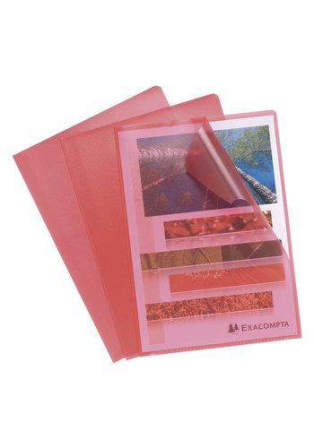 Exacompta Transparante L-mappen, A4, 10 stuks, rood