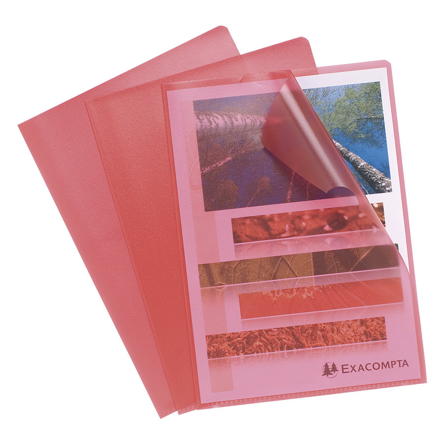 Transparante L-mappen, A4, 10 stuks, rood-1